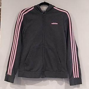 Adidas• charcoal and pink zip up hooded sweatshirt